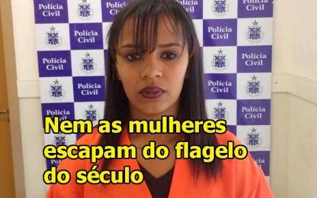 IsabelEvangelista da Silva, 25 anos, foi presa em uma residência na rua José Rodrigues, centro de Porto Seguro.radargeral.com