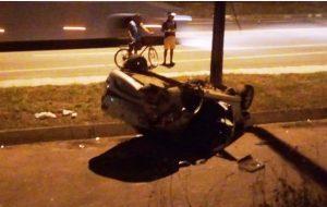 O acidente foi por volta das 02h e não foi informado o nome da motorista e nem a placa do veículo. RADARGERAL.COM SITE NOTICIAS DE LINHARES ES