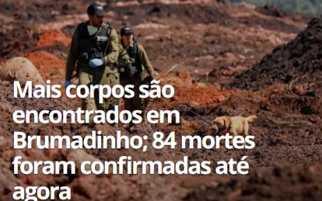 84 MORTES CONFIRMADAS BRUMADINHO MG RADARGERAL