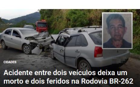jair rodrigues morto acidente br 262 radargeral
